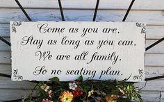No Seating Plan Wedding Signs Wedding Decorations by familyattic, $37.95