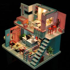 Pokadoll DIY Toy Coffee House Miniature Dollhouse in 2019 Sims 4 House Design, Tiny House Design, Sims House Plans, Casas The Sims 4, Sims Building, Sims 4 Build, Cute House, Miniature Houses, House Layouts