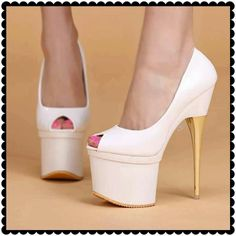 Beautiful white peeptoes platform
