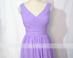 Lavender Short Bridesmaid Dress V-neck Chiffon Bridesmaid Dress-Custom Dress