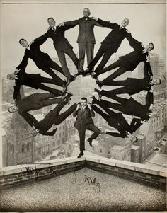 Unknown American Artist, Man on Rooftop with Eleven Men in Formation on His Shoulders, ca 1930.  George Eastman House.  Photo Courtesy: The Metropolitan Museum of Art