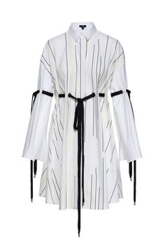 Ji Oh Yellow Black Drip Pattern On White Cotton Knee Length Long Sleeve Slits Collar Dress Hidden Front Placket Grommets Ribbon Tie Straps On Elbows And Waist Muslim Fashion, Hijab Fashion, Korean Fashion, Fashion Dresses, Stylish Dresses, Classy Outfits, Cool Outfits, Casual Outfits, Look Fashion