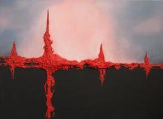 """heartbeat"" abstract acryl op doek mixed media"