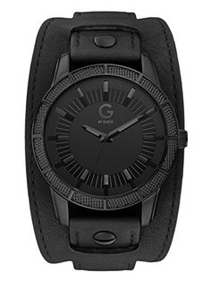 Black Leather Cuff Watch at Guess Stylish Watches, Cool Watches, Watches For Men, Leather Cuffs, Black Leather, Leather Bracelets, Leather Working, Watch Bands, Geek Jewelry