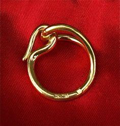 HERMES Scarf Ring Gold Plated Hook & Loop Jumbo Equestrian Beautiful!