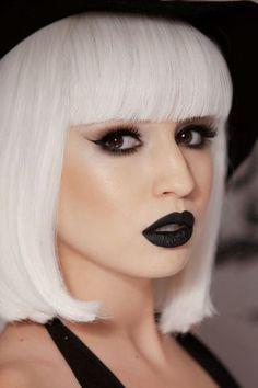 Black lips- White hair - #Makeup look