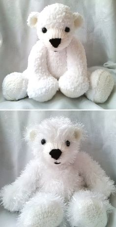Knitting Pattern for Huggable Polar Bears -This pattern from Huggable Bears includes 2 sizes: The large one sits at 12 inches/30cms and stands at 18 inches/46cms. The small one sits at 9 inches/23cms and stands at 14 inches/35cms. Designed to be knitted as flat using 2 straight knitting needles, the body and legs are knitted as one piece.