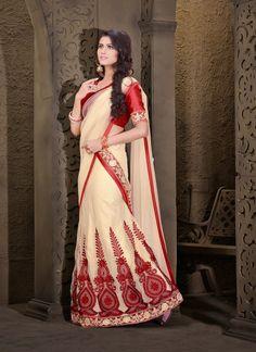 Classy Cream Lehenga Choli #lehnga #wedding #bridal #shaadi #women #bride #LehengaCholi #ethnic #wear #desiwedding #asianclothes #bollywood #indian #trendz #indiantrendz