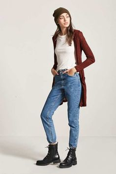 Forever 21 Marled Open-Front Hooded Cardigan