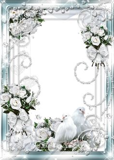 Beautiful Delicate Wedding Transparent Photo Frame with White Roses and Doves