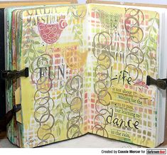 Art journal page by Connie Mercer using Darkroom Door Abstract 02 Stamp and Large Mesh Stencil. Journal Covers, Art Journal Pages, Art Journals, Journal Ideas, Simple Borders, Printed Pages, Ink Stamps, Some Cards
