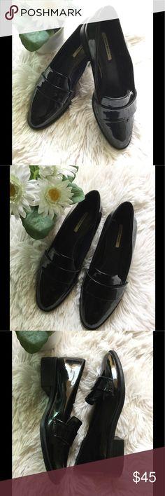 🌹Basic Zara black slip on shoes 🌹 🌹Zara black shiny slip on shoes 🌹 Zara Shoes Flats & Loafers