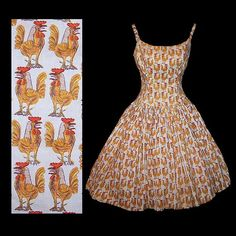 Homemade Vintage sundress: PICASSO ROOSTER fabric by Fuller Fabrics Modern Master series 1955 (Claire used this fabric for a slim front/pleat back sundress)