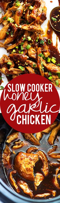 Slow Cooker Honey Garlic Chicken | Creme de la Crumb