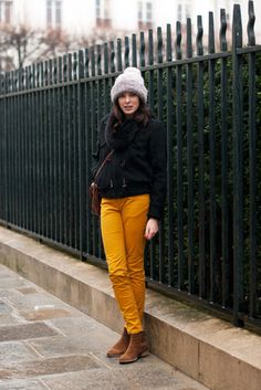 yes, colored pants, gray hat, brown booties. #inspiration #mustard #navy #gray #brown