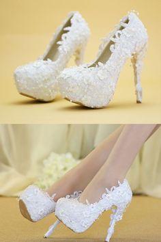 d06953b92 Stylish Slip-On Platform Stiletto Heel Wedding Bridal Shoes