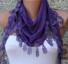 lenço roxo lenço de algodão Headband Cowl com pelo fatwoman, $ 15,00 by Divonsir Borges