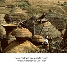 Africa | Kirdi huts and granaries; thatched with millet stalks, which protect the stone and loam buildings from sun, rain and insects. Mandara Mountains, northern Cameroon. | ©Carol Beckwith and Angela Fisher Vernacular Architecture, Historical Architecture, Ancient Architecture, Art And Architecture, African Culture, African History, African House, Afrique Art, Interesting Buildings