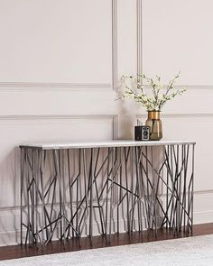 HB669 Hooker Furniture Silver Strands Console Table