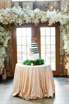 gold glitter linens + striped cake | Love, The Nelsons #wedding