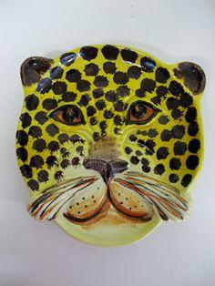 Mid Century Italian Art Pottery Leopard Decorative Plate 1960