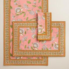One of my favorite discoveries at WorldMarket.com: Pink Pip Floral Table Linen Collection