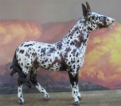 Resin:  Carrot Top  Traditional Mule sculpted by grace newhouse  http://www.angelfire.com/wv/rockingcranch  Color:  Appaloosa  Painter:  Sherry Clayton