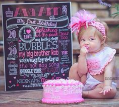 Custom chalkboard style first birthday printable sign for parties or photoshoots! Any theme or color scheme via www.customchalkposters.etsy.com