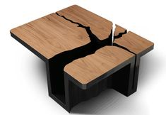 Tree slab table - can't you just see turquoise embedded in it too?