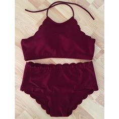 Trendy Wine Red High-Neck Scalloped Women's Bikini Set ($13) ❤ liked on Polyvore featuring swimwear, bikinis, scallop bikini, bikini swimwear, bikini beachwear, bikini swim wear and high neck bikini swimwear