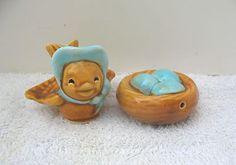 Collectible Vintage Pottery Arcadia Mini Bird Her Nest Salt Pepper Shakers | eBay