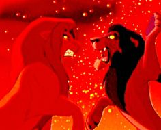 """Scar (Jeremy Irons) & Simba (Matthew Broderick) from """"The Lion King"""""""
