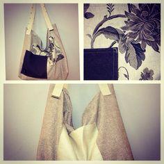 Borsa creata con riciclo di pelle e tessuti, i manici di questa borsa sono cinture di tela! Borsa molto capiente perfetta anche al mare! Pez_mood!