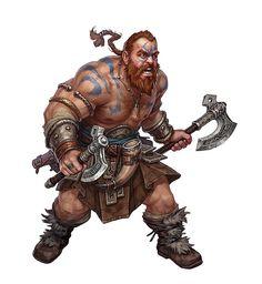 m Dwarf Barbarian w 2 axes Storm Bunny Studios
