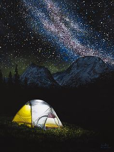 Solitude - Acrylic painting of a tent in the Rocky Mountains with Milky Way by Aaron Spong -  http://aaron-spong.artistwebsites.com