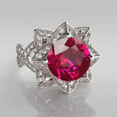 2.50ct Lotus Flower Brilliant Cut Created Pink Sapphire Rhodium Plating Sterling Silver Engagement Ring