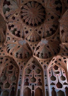 famous acoustic ceiling in the music room of ali qapu palace, Isfahan Province, isfahan, Iran Ely Cathedral, Temple Of Heaven, Iran Travel, Eric Lafforgue, Mosque, Acoustic, Interior And Exterior, Persian, Architecture Design