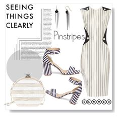 """Mugler pinstripes crepe dress!"" by faten-m-h ❤ liked on Polyvore featuring Alexis Bittar, Thierry Mugler, Edie Parker and J.Crew"