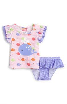 Sol Swim 'Cuttey Whales' Two-Piece Rashgaurd Swimsuit (Baby Girls)
