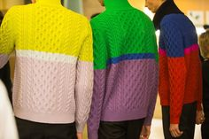 Backstage at Kenzo Homme AW14 Colour and shape linking to Bauhaus