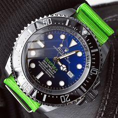 Rolex Deep Blue on Luminous Green Nato Strap. NICE!