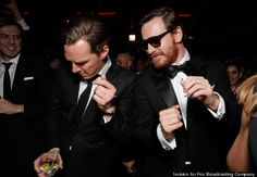 Benedict Cumberbatch and Michael Fassbender at Golden Globes after party.