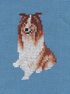 Collie counted cross-stitch chart