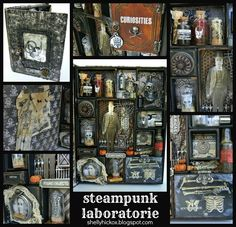 #papercraft #printerstray  Steampunk Laboratorie shadow box created using @Tim Harbour Harbour Harbour Harbour Harbour Holtz dies from Sizzix.