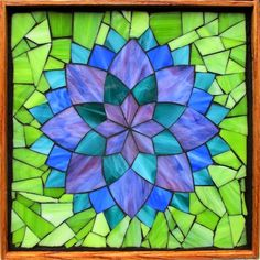 """Student Work - Framed Stained Glass Mosaic Dahlia 12"""" x 12"""" created by Beth in a Stained Glass Mosaic Flower Workshop with Artist Kasia Polkowska - Next Upcoming Class in Boulder, Colorado is Novermber 15-16, 2014 Sign up on: www.kasiamosaics.com Plus there will be 35 different locations through out the US in 2015."""