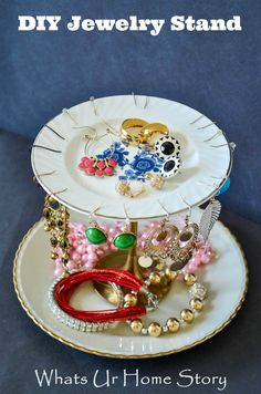 Make a Tiered Jewelry Stand from Vintage plates