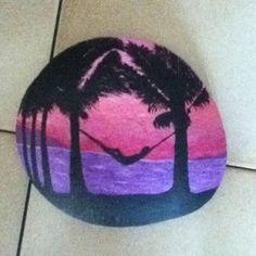Seaside painted rock