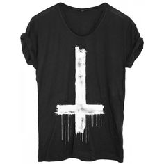 T-shirt Cross Down Black ❤ liked on Polyvore featuring tops, t-shirts, shirts, remeras, tees, cross shirt, black cotton t shirt, black t shirt, cross t shirt and black oversized shirt