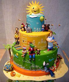Russian cartoon characters cake