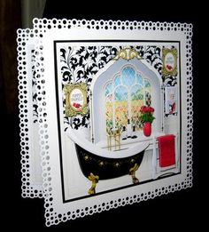 Black & White Bathroom Square Ornate Arched Window Mini Kit by Dianne Jackson I mounted onto an 8 x 8 stand out card punched with a bubbles punch around the page and decoupaged with sticky pads. I printed out extra decoupage to decoupage the vase and added 2 sentiment pictures. I cut the insert in half and added each half to the sides of my card. This is a striking design